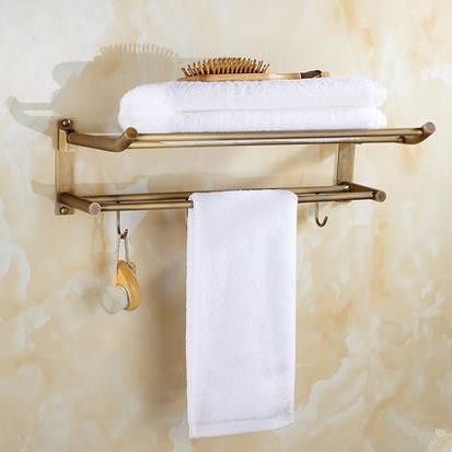 Antique Brass Bathroom Double Towel Bar With Robe Hooks TA165DS