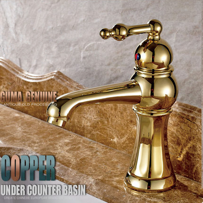 2016 New Single Handle Golden Printed Bathroom Sink Tap TA2028G