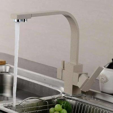 Square Body Flat-tube Beige Lacquer Three Way Drinking Water Kitchen Sink Tap TA300W