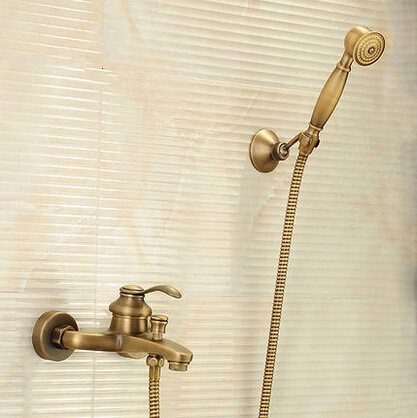 Antique Brass Bathtub Tap With Hand Shower Mixer Water Bathroom Tap TA3075U