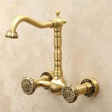 Antique Brass Carved Classical Wall Mounted Kitchen & Bathroom Mixer Tap TA395L