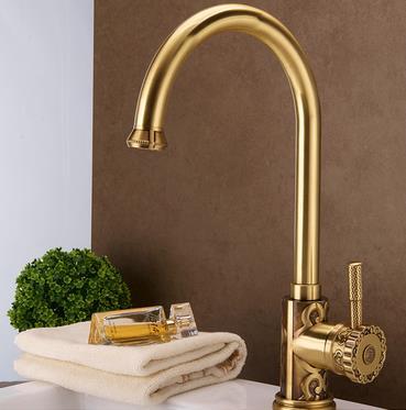 Antique Brass Carved Court Style Kitchen/Bathroom Sink Tap TA630L ...