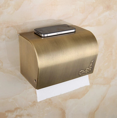 Antique Brass Bathroom Toilet Paper Box Holder Can Put Phone on It TAB138