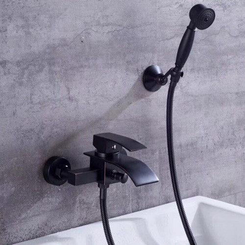 Black Bronze Brass Waterfall Mixer Bathroom Bathtub Tap With Hand Shower TB0400
