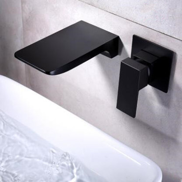 Concealed Black Wall Mounted Hot-Melt Waterfall Mixer Bathroom Sink Tap TB0539