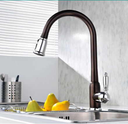 Best Quality Brass Black Painted Kitchen Pull Out Sink Tap TB3012
