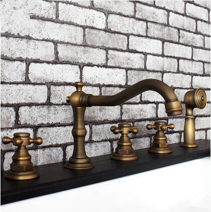 Antique Brass Five-Pieces Bathroom Bathtub Shower Mixer Taps TB455A