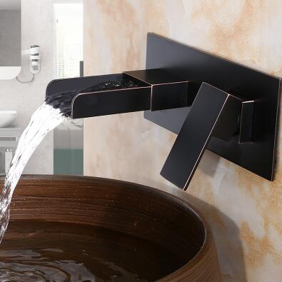 Antique Basin Tap Black Bronze Brass Wall Mounted Waterall Bathroom Sink Tap TB498W