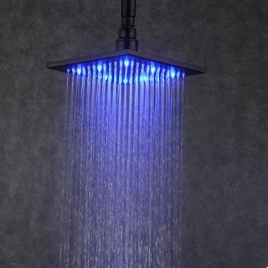 Antique LED Black Bronze Brass 8 Inch Square Rainfall Shower Head TBS128