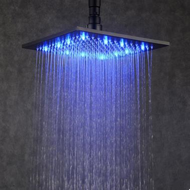 Antique Black Bronze Brass LED 12 Inch Square Rainfall Shower Head TBS274