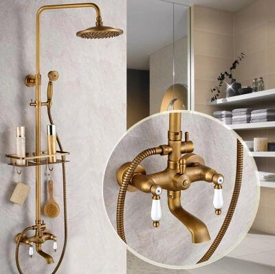Antique New Design Brass Mixer Shower Tap Set With Small Shelf ...