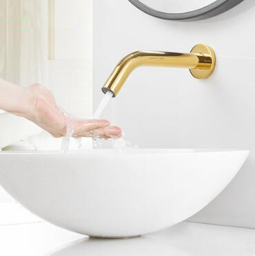 Automatic Golden Printed Bathroom Washing Hands Tap Wall Mounted Sensor Tap TG0170