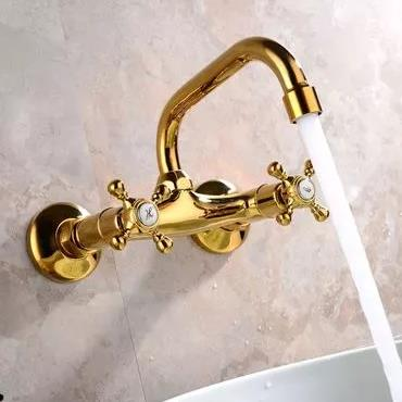Antique Brass Golden Printed Wall Mounted Mixer Bathroom Sink Tap TG109W