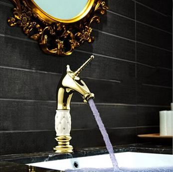 Brass Vintage Unicorn Gold Color Bathroom Sink Tap Creative Mixer Water Tap TH3250