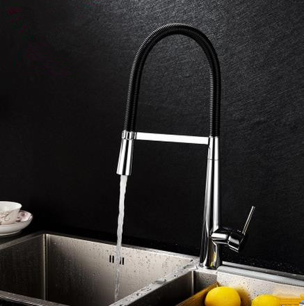 Brass Black Spring Mixer Water Pull Out Kitchen Sink Tap TH405P