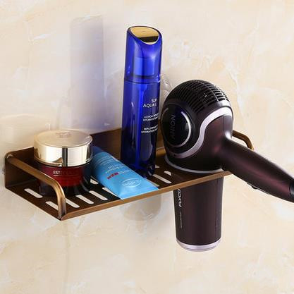 Antique Brass Bathroom Accessory Multi-function Rack Hair Dryer Holder THD128