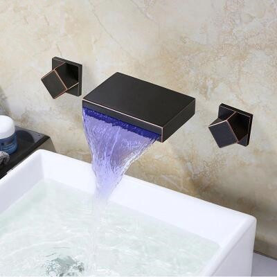 ORB Black Wall Mount Waterfall 3 Colors LED Bathroom Sink Tap TOR428W