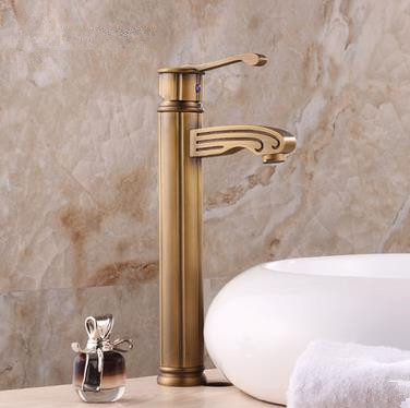 Antique Brass Finish Single Handle Centerset Wood-like Bathroom Sink Tap Tall TP0486H