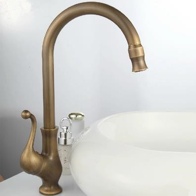 Antique Brass Finish One Hole One Handle Cold and Hot Water Rotatable Kitchen Tap TP8801A
