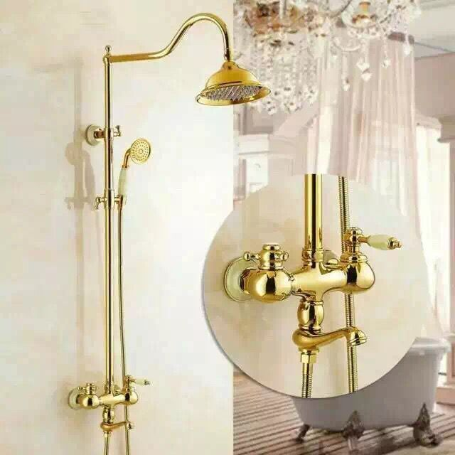 Special Design Brass Bathroom Golden Rainfall Wall Mounted Shower Tap TS1433G