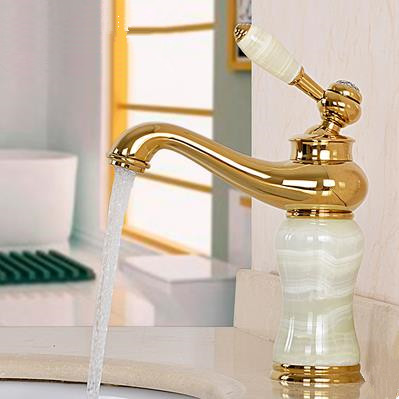 Antique Brass Golden Printed with Marble Bathroom Mixer Water Sink Tap TS430G