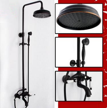 New Design Black Bronze Brass Two Handles Rainfall Shower Tap TS620B