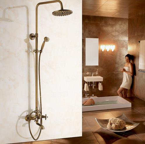 Antique Brass Tub 8 inch Shower Head + Hand Shower Shower Tap - TSA003