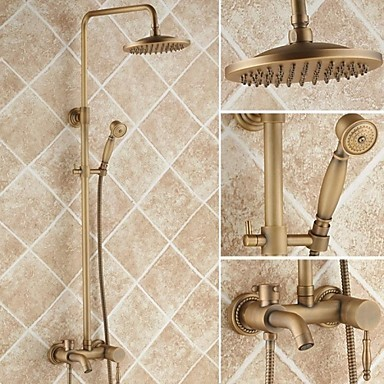 Antique Brass 8 inch Shower Head + Hand Shower Tub Shower Tap - TSA005