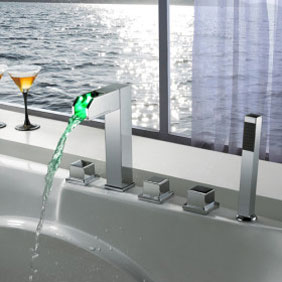 Contemporary Color Changing LED Tub Tap with Hand Shower - T8005-4
