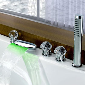 Contemporary Color Changing LED Glass Handles Tub Waterfall Tap with Hand Shower T6016