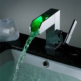 Contemporary Color Changing LED Waterfall Bathroom Sink Tap - T8005F