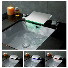 Contemporary Color Changing LED Waterfall Widespread Bathroom Sink Tap T8012F