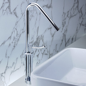 Contemporary Brass Bathroom Sink Tap Chrome Finish T0468