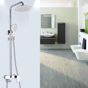 Contemporary Shower Tap with 8 inch Shower Head + Hand Shower - TSC010