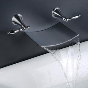 Contemporary Waterfall Bathroom Sink Tap (Wall Mount) T7012A