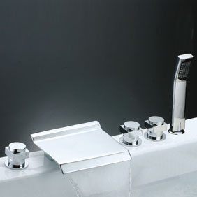 Contemporary Waterfall Tub Tap with Hand Shower (Chrome Finish) T7015