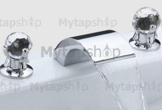 Contemporary Widespread Bathroom Sink Tap (Crystal Handles) T6013 ...