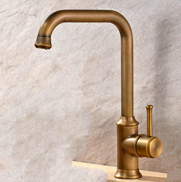 Antique Brass Finish Single Handle Swivel Kitchen Tap