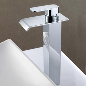 Contemporary Solid Brass Waterfall Bathroom Sink Tap (Tall) T6006H