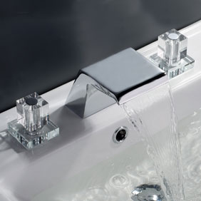 Contemporary Waterfall Bathroom Sink Tap (Chrome Finish, Widespread) T7002