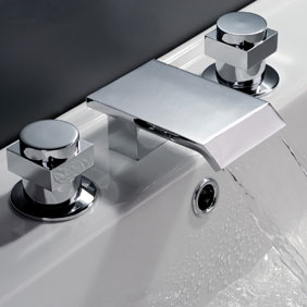 Contemporary Waterfall Bathroom Sink Tap (Chrome Finish, Widespread) T7003