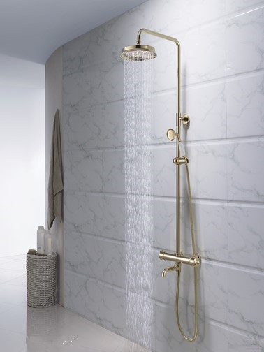 Luxurious Designed Golden Thermostatic Shower Tap Set Exquisite Quality TS1799
