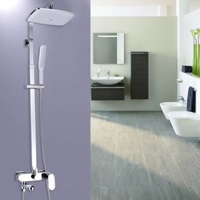 Contemporary 8 inch Shower Head + Hand Shower Shower Tap - TSC011