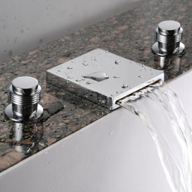 Waterfall Bathroom Sink Tap (Widespread) - Chrome Finish T7004